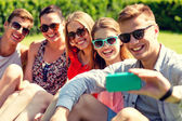 Smiling friends with smartphone sitting on grass — Stock Photo