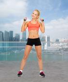Jovem mulher desportiva com halteres — Fotografia Stock
