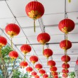 Ceiling decorated with hanging chinese lanterns — Stock Photo #71716259