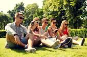 草の上に座ってのスマート フォンと友達に笑顔 — ストック写真