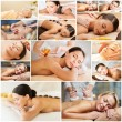 Women having facial or body massage in spa salon — Stock Photo #71959141