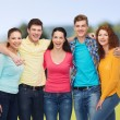 Group of smiling teenagers over green park — Stock Photo #71959733