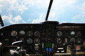 Dashboard in airplane cockpit and view of sky — Stock Photo