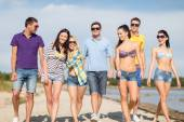 Group of happy friends walking along beach — ストック写真
