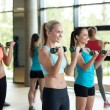Group of women with dumbbells in gym — Stock Photo #72304367