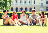 Group of smiling friends outdoors sitting on grass — Stockfoto