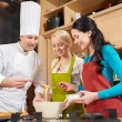 Happy women and chef cook baking in kitchen — Stock Photo #72678969
