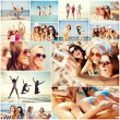 Girls having fun on the beach — Stock Photo #73168353
