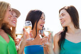 Girls with champagne glasses — Foto Stock