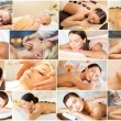 Women having facial or body massage in spa salon — Stock Photo #73306615
