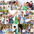 Collage with many pictures of college students — Stock Photo #73376289