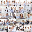 Collage with many business people in office — Stock Photo #73376321