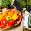 Vegetables in baskets with nameplates at market — Stock Photo #73377589