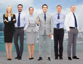 Group of smiling businessmen making handshake — Stock Photo