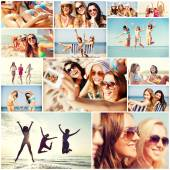 Girls having fun on the beach — Stock Photo
