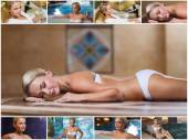 Beautiful young woman relaxing at luxury spa — Stockfoto