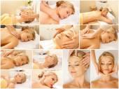 Woman having facial or body massage in spa salon — Stock Photo
