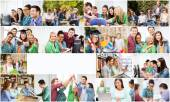Collage with many pictures of college students — Stock Photo