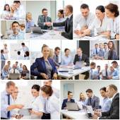 Collage with many business people in office — Stock Photo