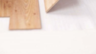 Close up of man installing wood flooring — Stock Video