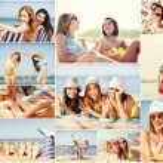 Girls having fun on the beach — Stock Photo #73763429