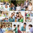 Collage with many pictures of college students — Stock Photo #73763441