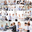 Collage with many business people in office — Stock Photo #74103555
