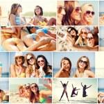 Girls having fun on the beach — Stock Photo #74103865