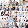 Collage with many business people in office — Stock Photo #74989243