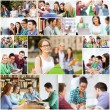 Collage with many pictures of college students — Stock Photo #74989257