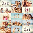 Girls having fun on the beach — Stock Photo #74989263