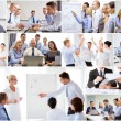 Collage with many business people in office — Stock Photo #75203059