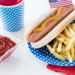 Food and drinks on american independence day party — Stock Photo #75204881
