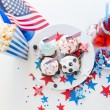 Cupcakes with american flags on independence day — Stock Photo #75204965
