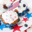 Cupcakes with american flags on independence day — Stock Photo #75204973