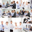 Collage with many business people in office — Stock Photo #75498827