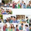 Collage with many pictures of college students — Stock Photo #75498911