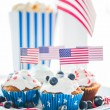 Cupcakes with american flags on independence day — Stock Photo #75505495