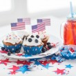 Cupcakes with american flags on independence day — Stock Photo #75506203