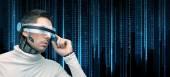 Man with futuristic glasses and sensors — Stockfoto