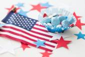 Candies with american flag on independence day — Stock Photo