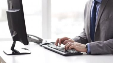 Close up of businessman with computer and phone — Stock Video
