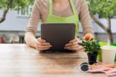 Close up of woman or gardener holding tablet pc — Stock Photo