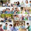 Collage with many pictures of college students — Stock Photo #76369625