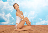 Beautiful woman in cotton underwear — Stock Photo