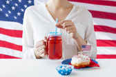 Woman celebrating american independence day — Stock Photo