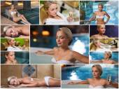 Beautiful young woman relaxing at luxury spa — Stock Photo