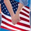 Close up of lesbian couple holding hands — Stock Photo #78104098