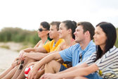 Group of happy friends on beach — Stock Photo