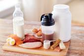 Close up of natural protein food and additive — Stock Photo